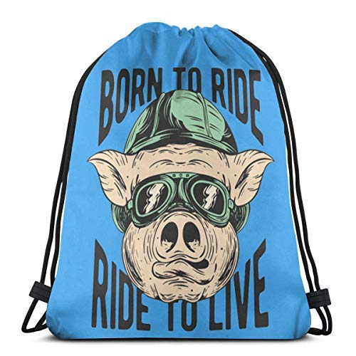 XCNGG Bolsa con cordón Bolsa con cordón Bolsa portátil Bolsa de Gimnasio Bolsa de Compras Biker Pig Drawstring Backpack Rucksack Shoulder Bags Gym Bag