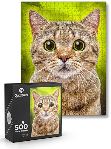 QuizQuirk Puzzle, Cute Cat 500 Piece Jigsaw Puzzle for Adults/Teens/Kids (Puzzle Saver Kit Included)