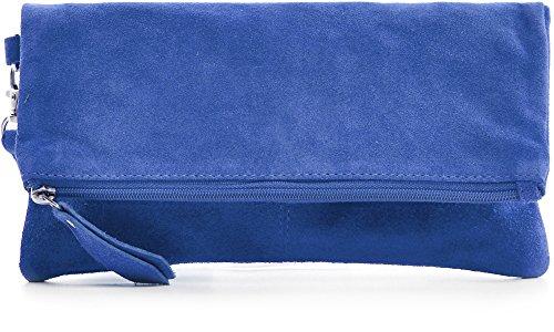 CNTMP, Damen Handtaschen, Clutches, Clutch, Unterarmtaschen, Abendtaschen, Party-Bags, Trend-Bags, Velours, Veloursleder, Wildleder, Leder Tasche, Farbe:Blau;Größe:Large