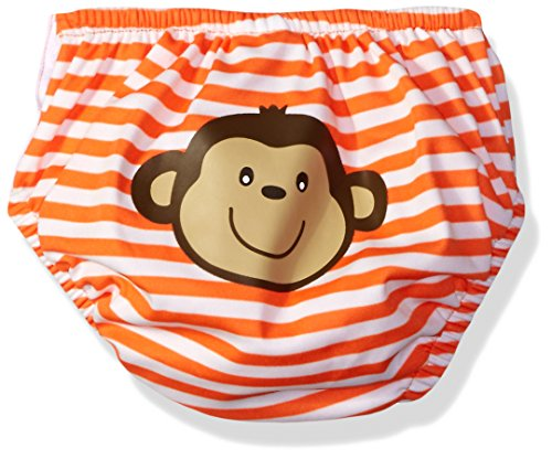 KIKO & MAX Boys\' Absorbant Reusable Swim Diaper, Monkey (Orange), L