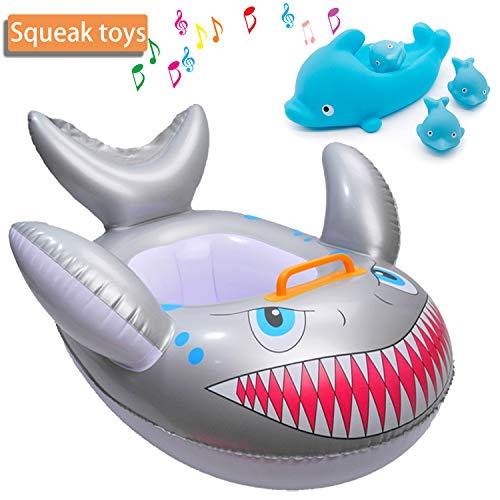 Bebé flotador natación con asiento Bebé recién nacido Anillo de tiburón Cuidado de la piel PVC Entrenamiento para bebés Piscina para niños Piscina o actividades en playa Apto para 6 meses a 36 meses
