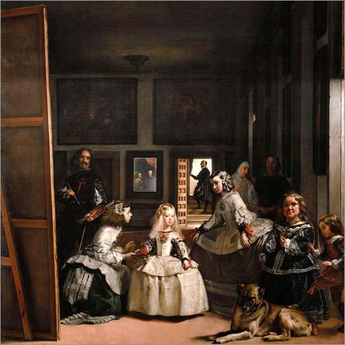 Posterlounge Lienzo 50 x 50 cm: The Meninas de Diego Rodriguez de Silva y Velazquez - Cuadro Terminado, Cuadro sobre Bastidor, lamina terminada sobre Lienzo autentico, impresion en Lienzo