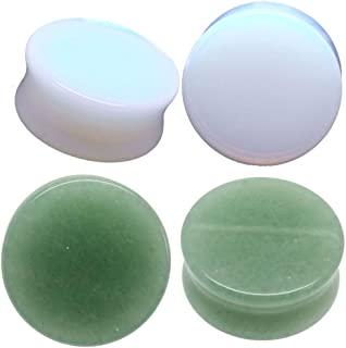 soscene Ear gauges Ear Plugs Combo 2 Pairs Total Solid Green Jade &Solid Opalite 4 Pieces