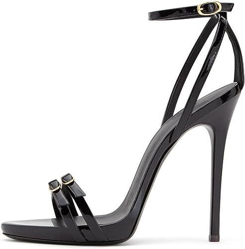 SHINIK Femmes chaussures Europe et les Les dames des états-Unis états-Unis grande taille en cuir verni noir à talons hauts sandales talons hauts Stiletto  voici la dernière