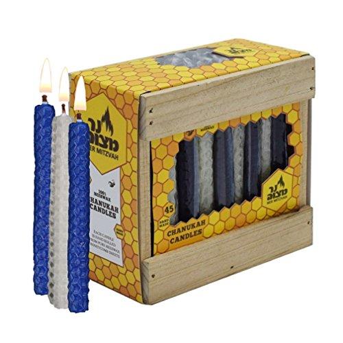 Ner Mitzvah Miel En Panal de abeja Chanukah velas azul & blanco, 45velas