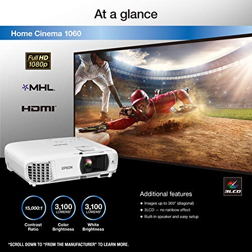 Epson Home Cinema 1060 Full HD 1080p 3,100 Lumens Color Brightness (Color Light Output) 3,100 Lumens White Brightness (White Light Output) 2x Hdmi (1x Mhl) Built-in Speakers 3lcd Projector Delaware