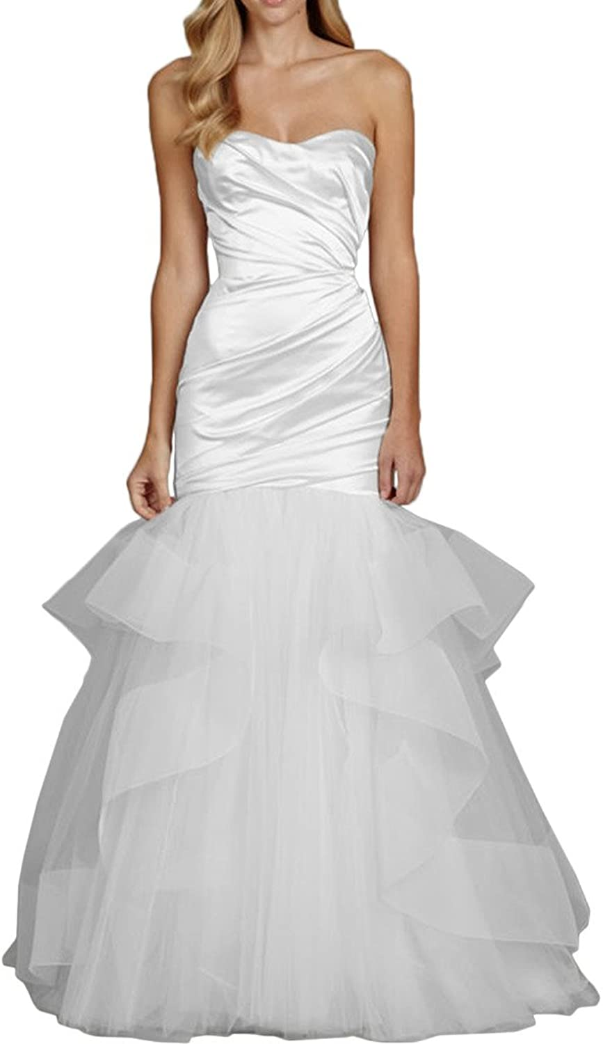 Avril Dress Sweetheart Mermaid Layered Satin Tulle Wedding Gown Long Train