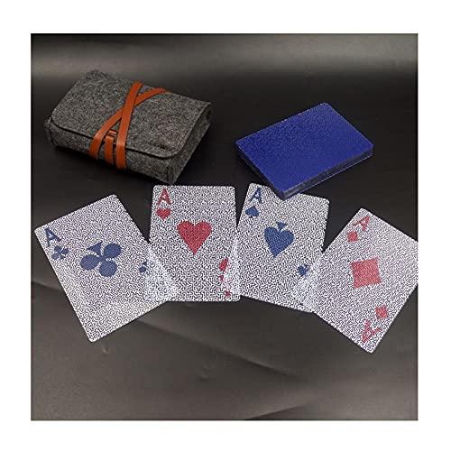 Naipes Transparentes Impermeables, Cartas de Póquer de Plástico con Bolsa de Fieltro, Novedosas Herramientas de Póquer para Fiestas Familiares