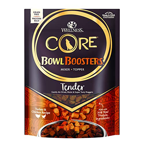 Wellness Core Natural Grain Free Bowl Boosters Tender Dog Food Mixer Or Topper, Turkey & Chicken Recipe, 8-Ounce Bag
