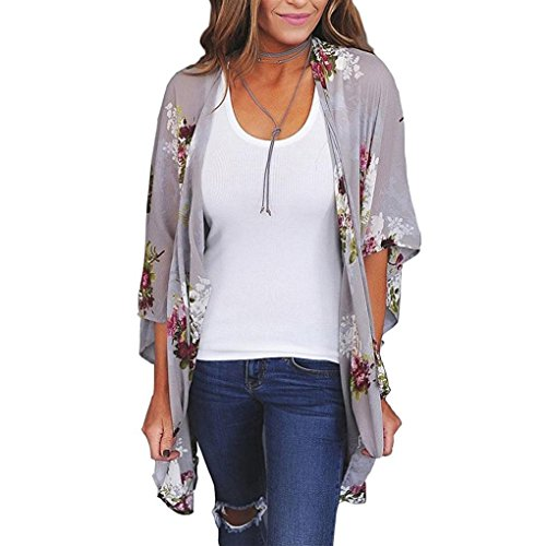 MRULIC Frauen Chiffon Lose Schal Print Kimono Cardigan Top Cover Up Bluse Beachwear (EU-44/CN-XL, Grau)