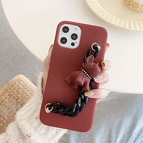 LIUYAWEI Funda de teléfono Suave con Cadena de Lujo 3D para iPhone 12 Pro MAX Mini 11 Pro MAX XR X XS MAX 7 8 Plus 6S SE 2020 Linda Funda, Rojo Vino, para iPhone 12