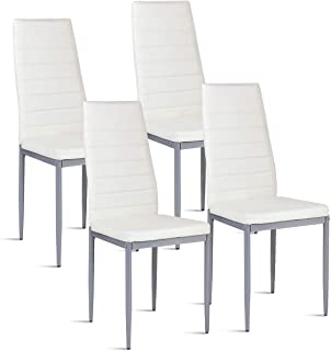 COSTWAY PU Leather Dining Side Chairs Elegant Design Home Furniture, Set of 4 (White)