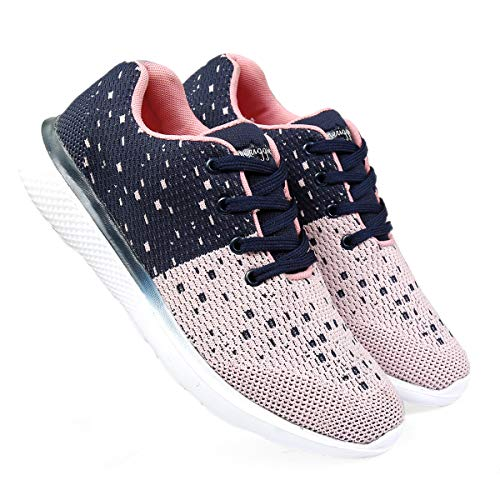 meriggiare® Women Fashion Breathable Sneakers Lightweight Sport Gym Fitness Workout Jogging Walking Memory Foam Air Athletic Tennis Running Sports Shoes- Baby Pink & Navy