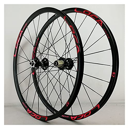 zyy Juego Ruedas Bicicleta 26 27.5 29 Pulgadas MTB Aleación Llanta Doble Pared 24H QR Freno Disco para Casete 8 9 10 11 12S (Color : Red, Size : 29in)