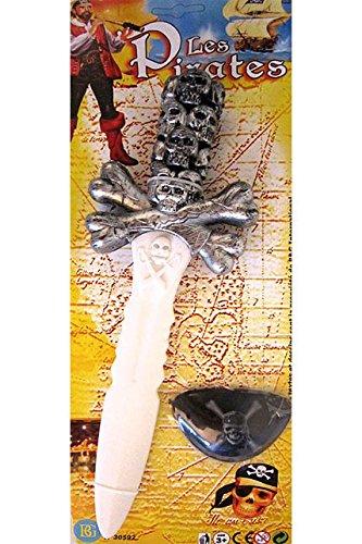 GRANDE EPEE DE PIRATE 34 X 10 CM + CACHE OEIL JOUET