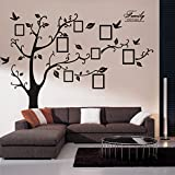 Art DIY Wall Sticker Memory Tree Photo Frames Family Tree Braches PVC Romovable Background Wall Decal Creativity Decor for Home, Sitting Bedroom Black.