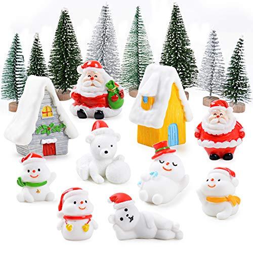 MEJOSER 18 Mini Adornos Navidad Adornos Navideños Figuras en Miniatura Árbol de Navidad Papá Noel Osos Muñecos de Nieve Casas Decoración Fiesta Navidad Mini jardín Micro Paisajes