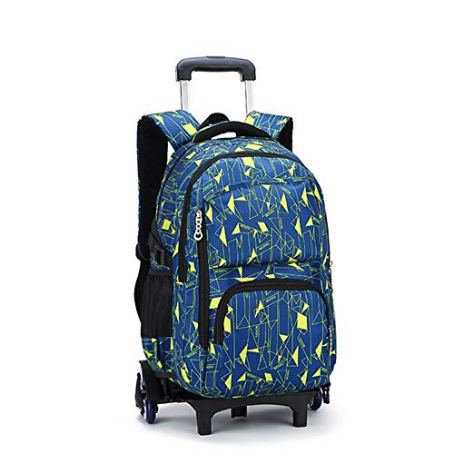 FREETT Student Trolley Backpack, Child Trolley Bag with Wheeled and Laptop Compartment, Trolley Suitcase for Boy University, 32 * 18 * 49 cm,Blue