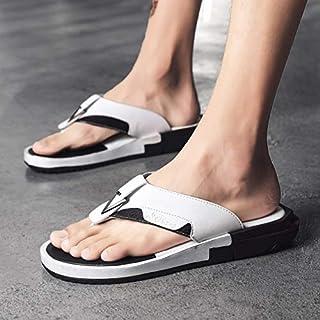 Summer Men's Fashion Flip Flops Shoes Casual Style Flat Open Toe Sandals Male Shoes Comfortable Beach Shoes Slippers (Color : White ZZ006, Shoe Size : 42)