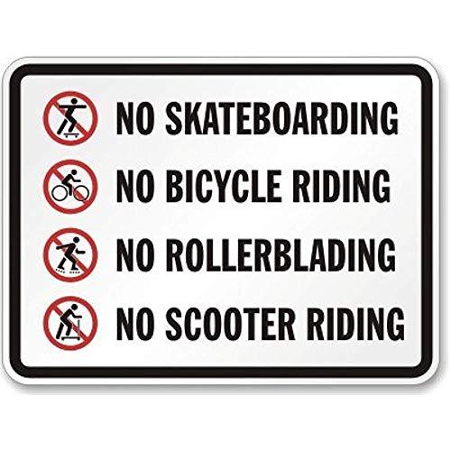 HNNT Metalen bord 8x12 inch Nieuw Geen Skateboarden Geen Fiets Riding Geen Roller Blading Geen Scooter Riding