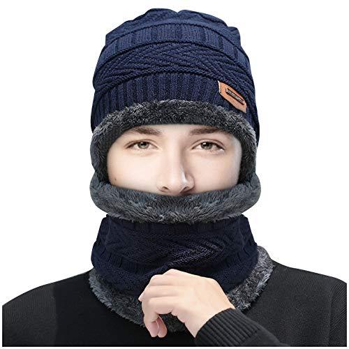 Hunpta @ Mütze Schal Set Winter Warm Beanie Strickmütze aus Dick Futter Wintermütze Strickschal Schlauchschal für Herren und Damen (Blau)