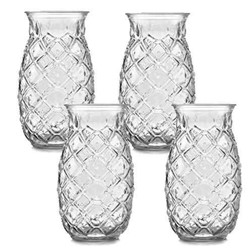 Libbey - Tiki Pineapple - Vaso de piña - Vaso de cóctel - 4 unidades - 500 ml - Apto para lavavajillas