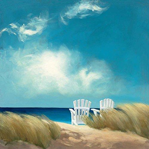 STAMPA-SU-TELA-INCORNICIATA-Purinton-Julia-Cm_94_X_94-Un-giorno-perfetto-costa-costiera-spiaggia-oceano-mare-spiaggia-di-sabbia-sedia-sedie-lawnfloralchairs-Adirondak-erba-e-Quadro-su-tela-c