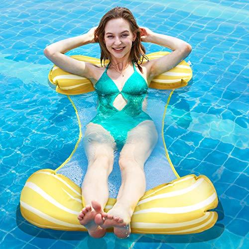 Fostoy Aufblasbare Wasserhängematte, 4 in 1 Luftmatratze Floating Lounge Stuhl für Erwachsene, Badehängematte Schwimmbad Matratze für Pool / Schwimmbad / Strand / Meer, Gelb
