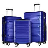 FOCHIER 3 PCS Juegos de Equipaje Maleta Ligera y Dura con Cerradura TSA 360° Ruedas giratorias,Azul#
