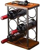 Vintage Weinregal für 6 Flaschen aus Holz, 3-Etage Freistehender Desktop Flaschenhalter, Lagerregal für Küche, Schrank, Bar, Keller, Garten