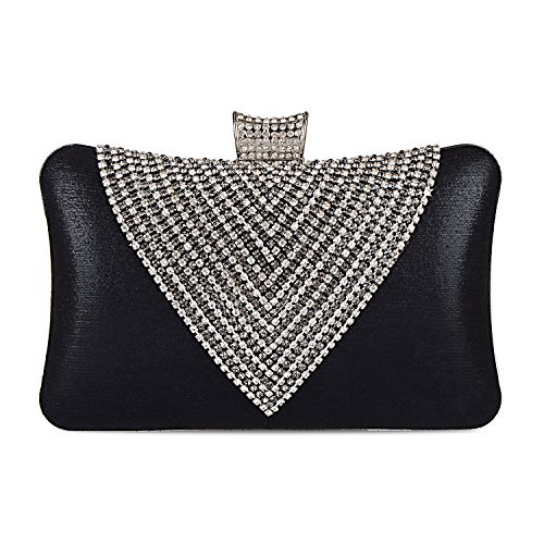 EULovelyPrice Borsa da sera per donna borsa da donna con strass perline (nero)