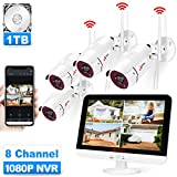 ANRAN Wireless Security Camera System with 13'' LCD Monitor, All-in-one 8CH 1080P WiFi NVR Pre-Install 1TB Hard Drive 4pcs Outdoor Surveillance Cameras with Night Vision,Motion Detection,Remote View