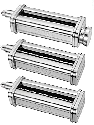 iVict 3-Piece Pasta Roller & Cutters Attachments Set for all KitchenAid Stand Mixers, including Pasta Sheet Roller, Spaghetti Cutter, Fettuccine Cutter