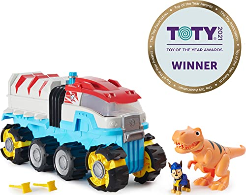 PAW Patrol, Dino Rescue Dino Patroller Motorized Team Vehicle with Exclusive Chase and T. Rex Figures Blue, Medium