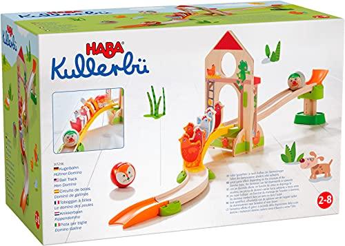 HABA 305396 - Kullerbü – Kugelbahn Hühner-Domino, Kugelbahn aus Holz mit Dominostein-Effekt, Kullerbahn, Scheunentor und 6 Hühnern aus Holz, Holzspielzeug ab 2 Jahren
