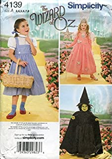 Simplicity 4139 'Wizard of Oz' Dorothy, Wicked Witch and Glinda Good Witch Halloween Costume Sewing Pattern for Children, Sizes 3-8