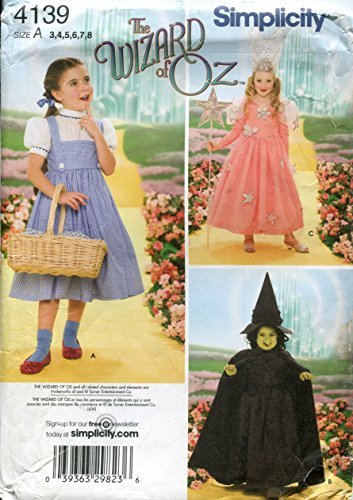 "Simplicity 7091 18/"" Girl Doll Pattern Clothes The Wizard of Oz Witch Dorothy"