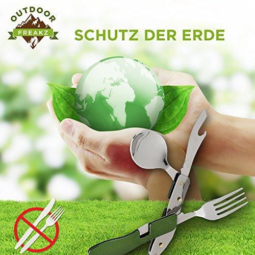 OUTDOOR FREAKZ Outdoor Campingbesteck Klapp-Besteck aus Edelstahl mit Gürteltasche, das Original! (grün +) - 7