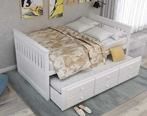 Storage Twin Daybed with Trundle and 3 Storage Drawers Platform Bed Frame with Headboard Footboard Kids Bed (White)