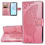 HMTECH Huawei P30 Lite Hülle,Huawei P30 Lite Handyhülle Prägung Schmetterling Blumen Flip Case PU Leder Cover Magnet Schutzhülle Tasche Skin Ständer Handytasche für Huawei P30 Lite,SD Butterfly Pink