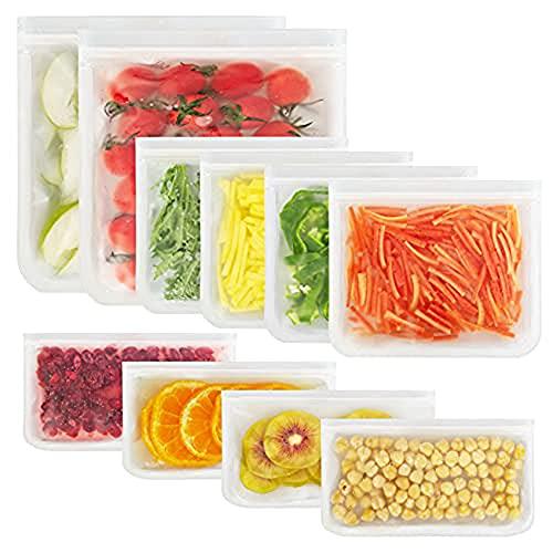 Bolsas Reutilizables de Congelación para Almacenamiento de Alimentos - Bolsa Bocadillos Sándwich Fruta Verduras Snacks, Bolsas de...