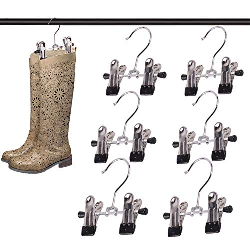 6 Pieces Double Adjustable Clips Boots Hangers, Ultra Thin Space Boot Holders for Tall Boots Hanging Clips, Boot Holder Boot Organizer, Portable Travel Clips Hangers, Pet Hangers