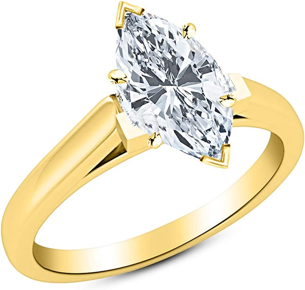 1/2 Ct Marquise Cut Cathedral Solitaire Diamond Engagement Ring 14K White Gold (H Color VS2 Clarity)