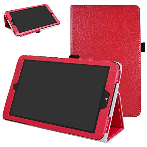 Mama Mouth PU Leder Folio 2-Folding Ständer Cover mit Stylus Halterung für 20,3cm LG G Pad X II 8.0Plus T-Mobile V530Android 7.0Tablet rot rot