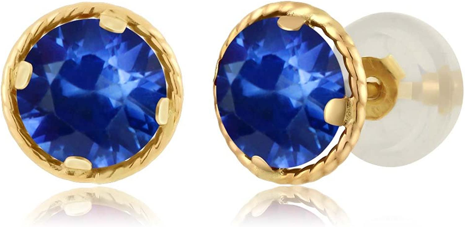 1.20 Ct Round 5mm bluee Sapphire 14K Yellow gold Stud Earrings