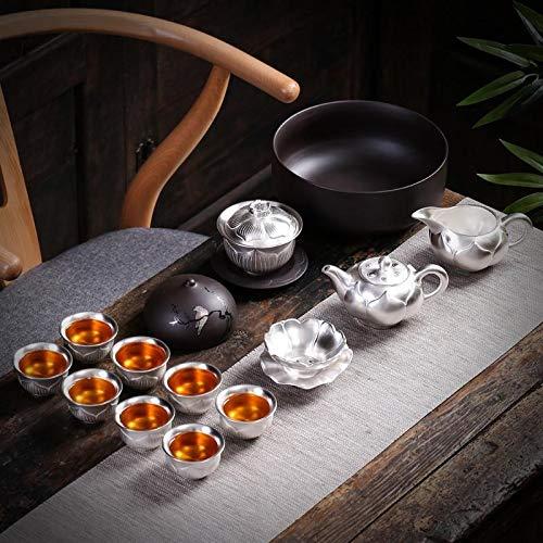 Juego de té de plata de ley 999 de HMXCC Kung Fu con set de plata de ley con tapa de tetera de cerámica para regalo (color: juego de 15 piezas, tamaño: gratis)