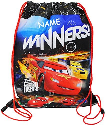 alles-meine.de GmbH Sportbeutel - Schuhbeutel - Turnbeutel __  Disney Cars - Lightning McQueen  - incl. Namen - wasserfest / abwischbar & wasserabweisend - für Kinder - Schulbe..