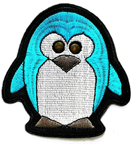 Nipitshop Patches Blue Penguin Artic Bird Retro Hippie Boho 70s Cartoon Kid Patch Embroidered DIY Patches Cute Applique Sew Iron on Kids Craft Patch for Bags Jackets Jeans Clothes