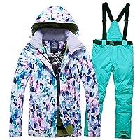 YABAISHI レディーススキースーツスキー服スノーボードジャケットパンツ防水防水フード付きスーパー暖かい女性コートスポーツウェア (Color : 10, Size : L)