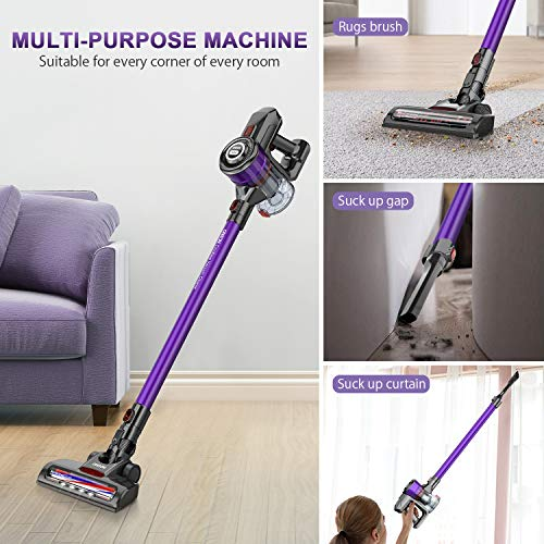Cordless Vacuum, ONSON Cordless Stick Vacuum Cleaner, 250W Powerful Cleaning Lightweight 2 in 1 Handheld Vacuum with Rechargeable Lithium Ion Battery